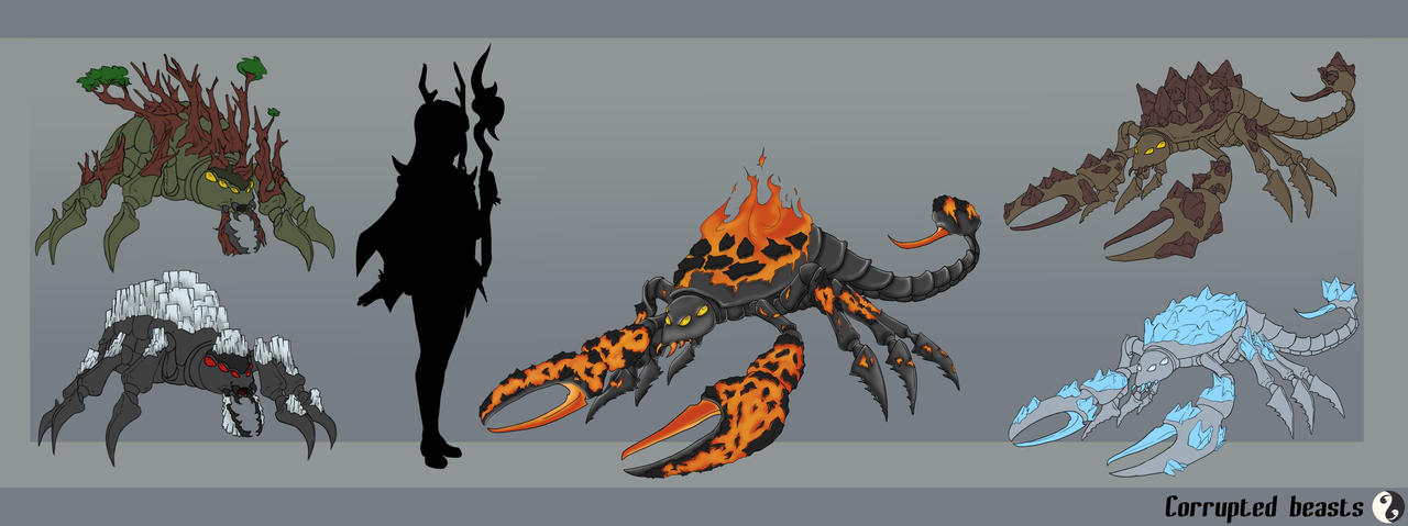 Game Concept Art - Corrupted creatures by Vega-Highwell