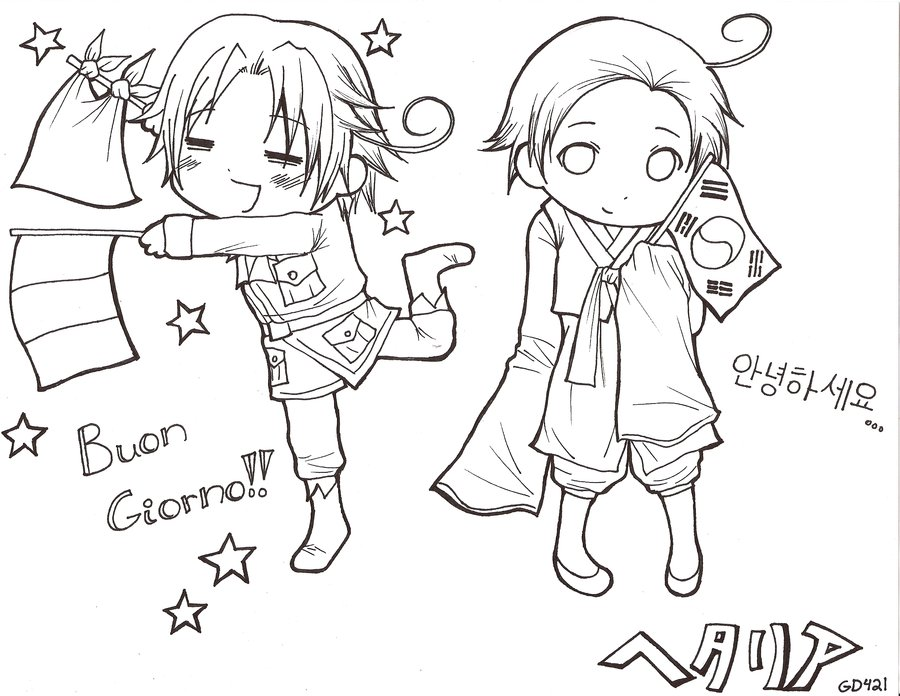 anime hetalia coloring pages - photo#1