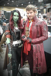 Star-Lord and Gamora with Baby Groot by Jpstudios11