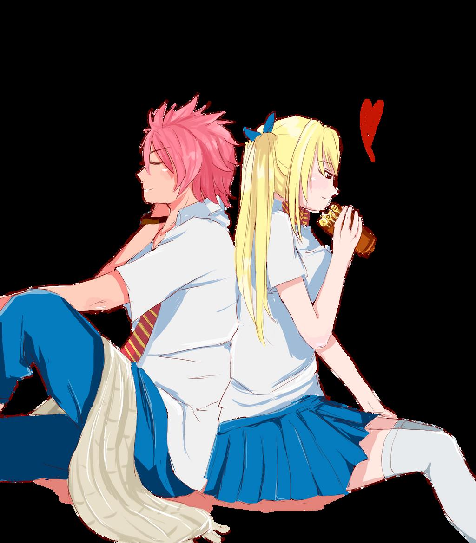 Wallpaper anime, art, Fairy Tail, Natsu, Lucy, Fairy tail