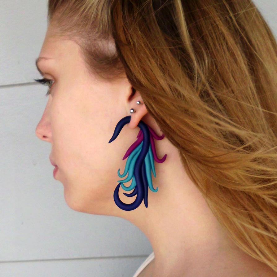 Phoenix Tail Fake Gauge Earrings By Jenetics On Deviantart