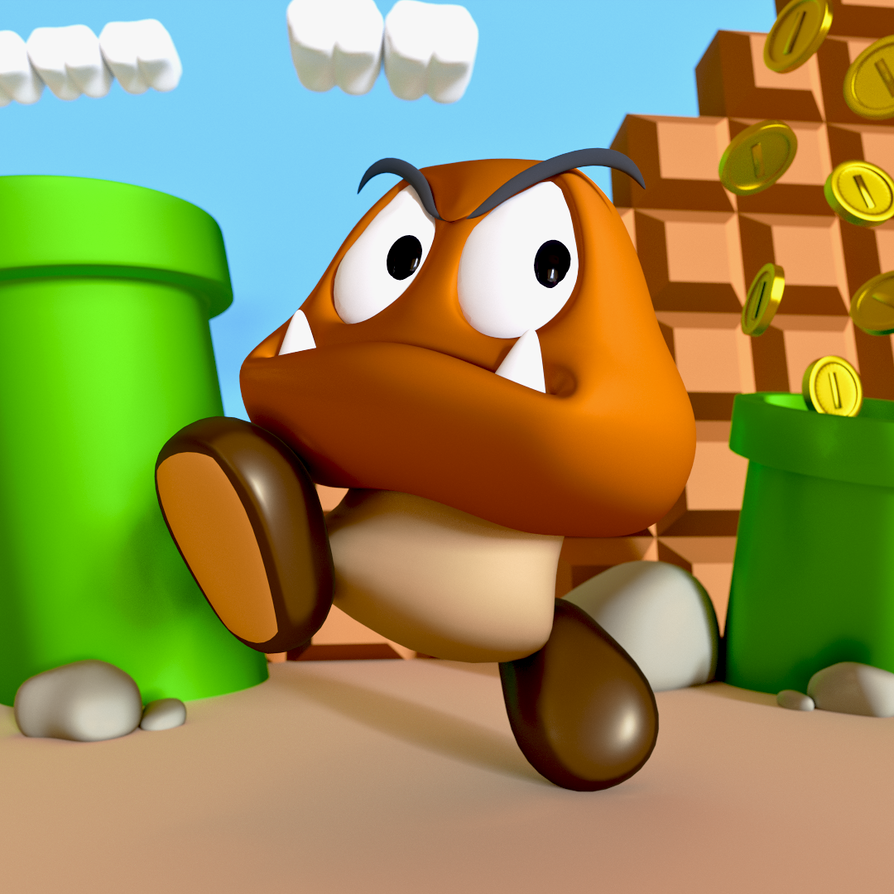 Super Mario Render: Goomba (Cycles) by sheldiner