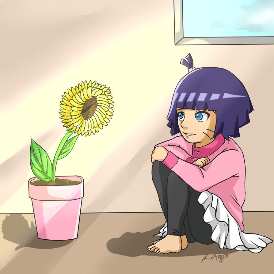Himawari and Her Sunflower by Mizuno-Suzuka