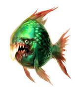 green fish with teeth by Jastorama