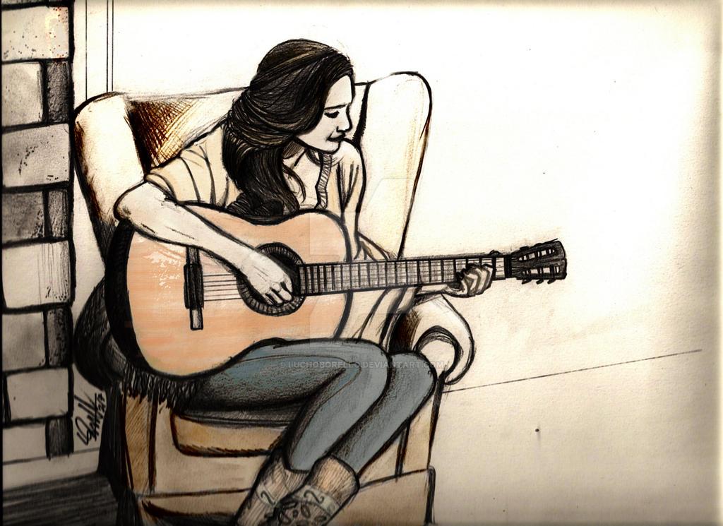 Девушка с гитарой картинки нарисованные, тортов