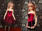Fuschia and Black Corset and Skirt Set