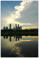 Singapore-skyline reflection 1 by ZeroDivine