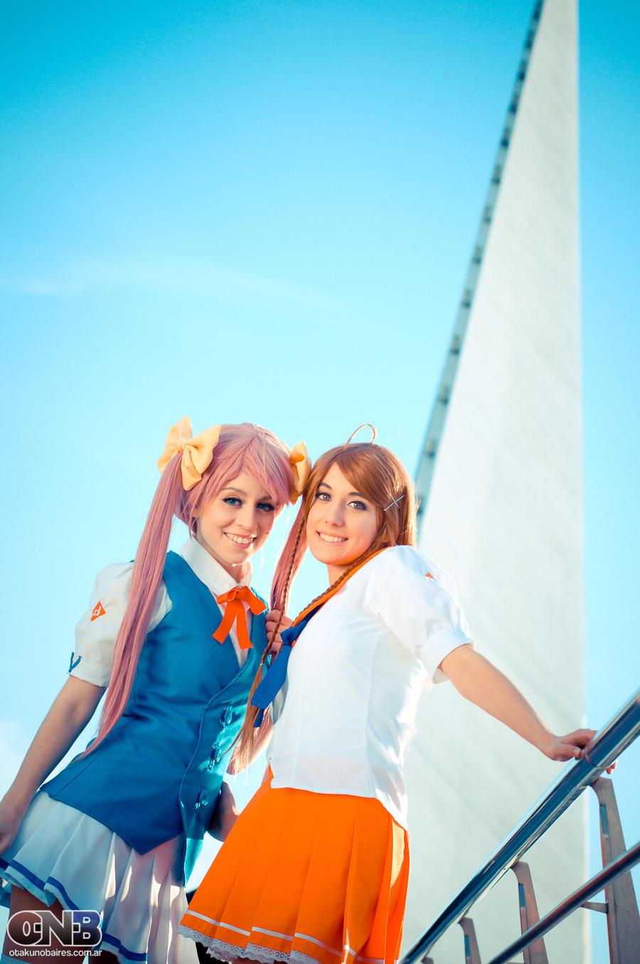 Mirai and Haruka Suenaga in the Puente de la Mujer by EzeMendez