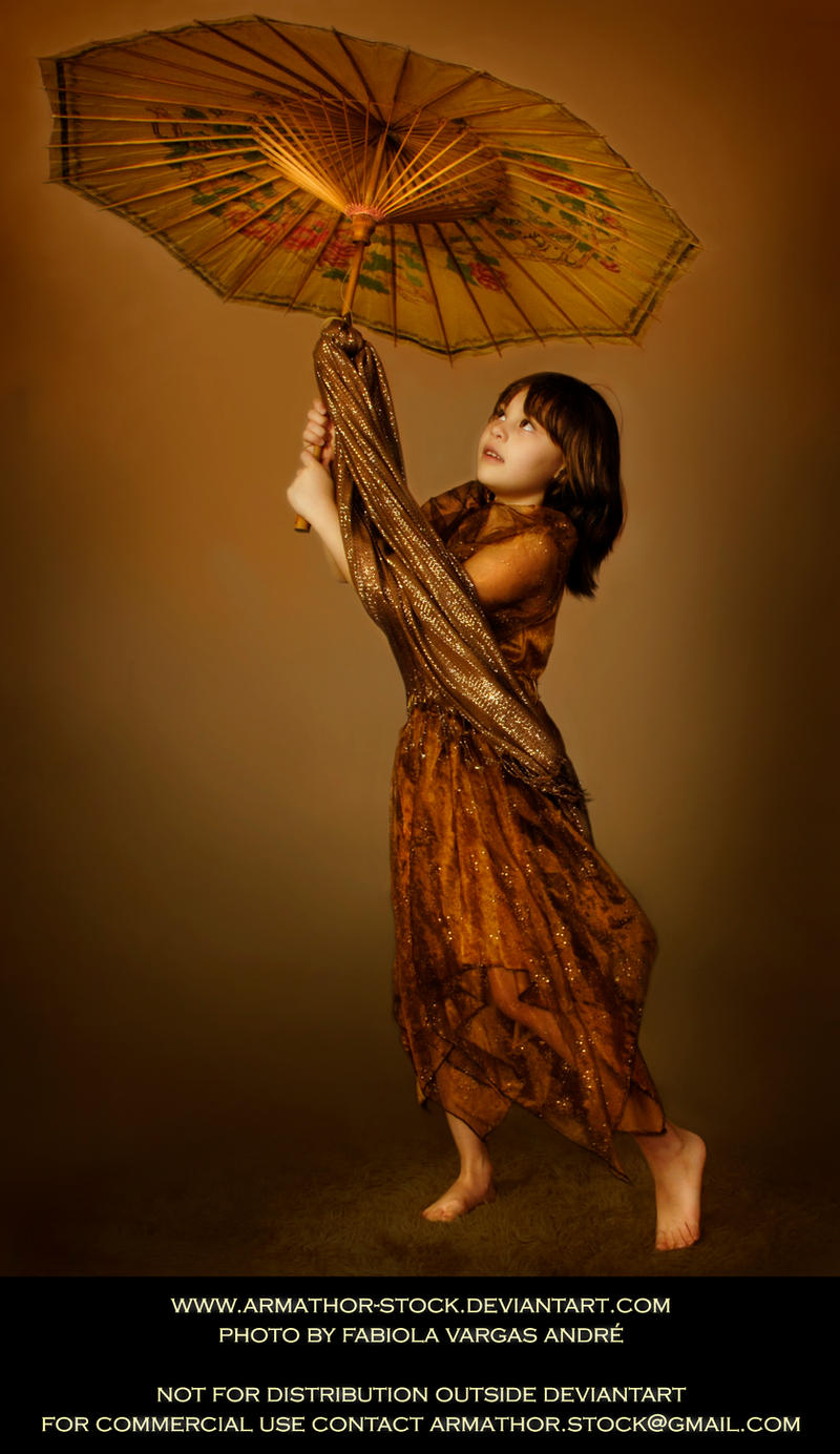 Luna Gold Gown with Umbrella 1 by Armathor-Stock