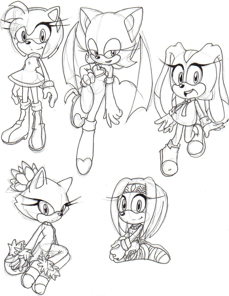 Sonic gals sketches by MagicalPouchOfMagic