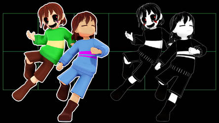MMD Frisk and Chara v3.0 DL by MagicalPouchOfMagic