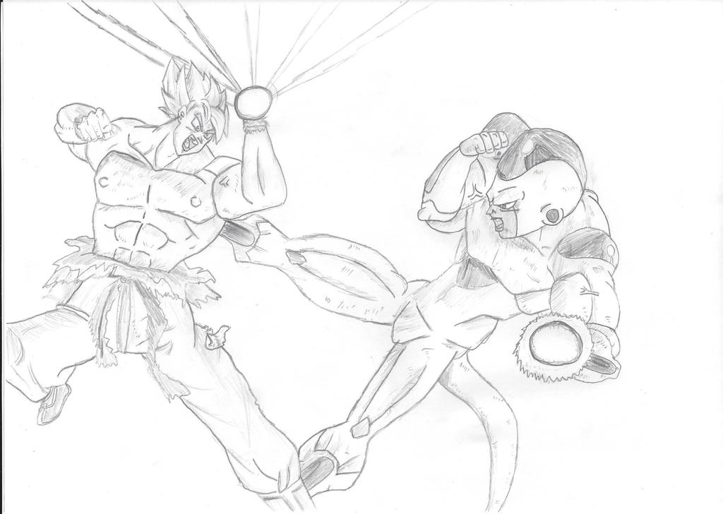 Golden Freezer Para Colorear: Super Saiyan Goku VS Golden Frieza Sketch By Asketch1 On