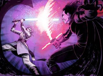 Kylo Ren versus Rey by davechisholm