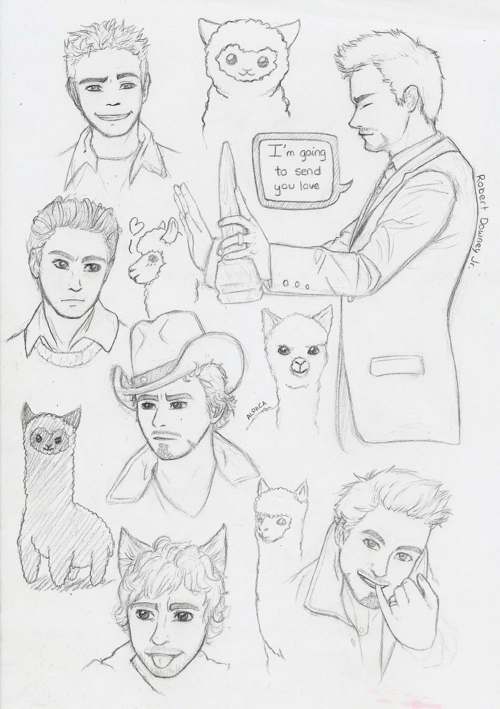 Robert Downey Jr. and alpacas by TatsuhaSakuraba