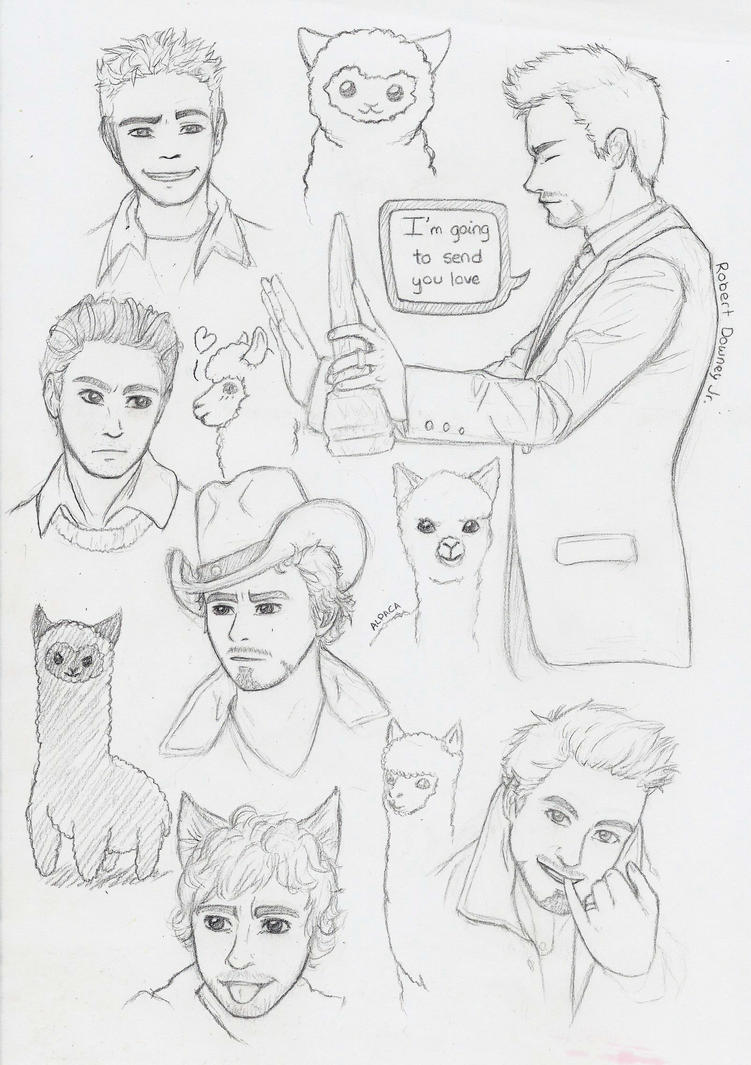 Robert Downey Jr. and alpacas by TatsuhaSakuraba