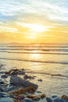 beal beach rocks and kelp sunset