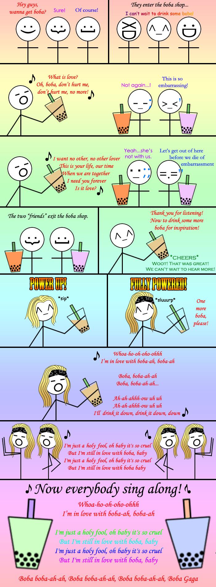 Bubble Tea Cartoon Singing to your bubble tea