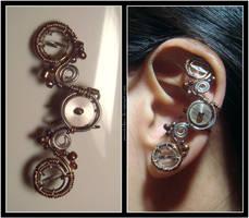 Balance Wheel ear cuff by Meowchee