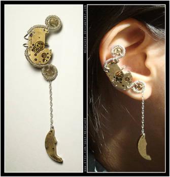 Steampunk Crescent Moon ear cuff by Meowchee