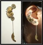 Steampunk Crescent Moon ear cuff