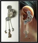Steampunk Gibbous Moon ear cuff