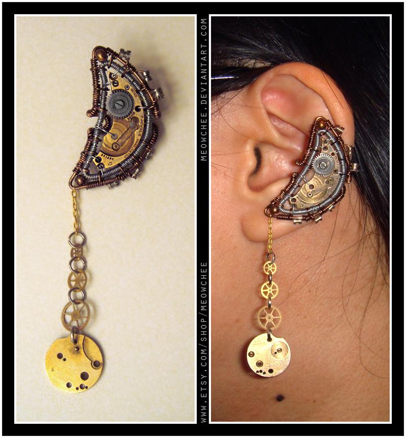 Steampunk Lunar Ear Cuff by Meowchee