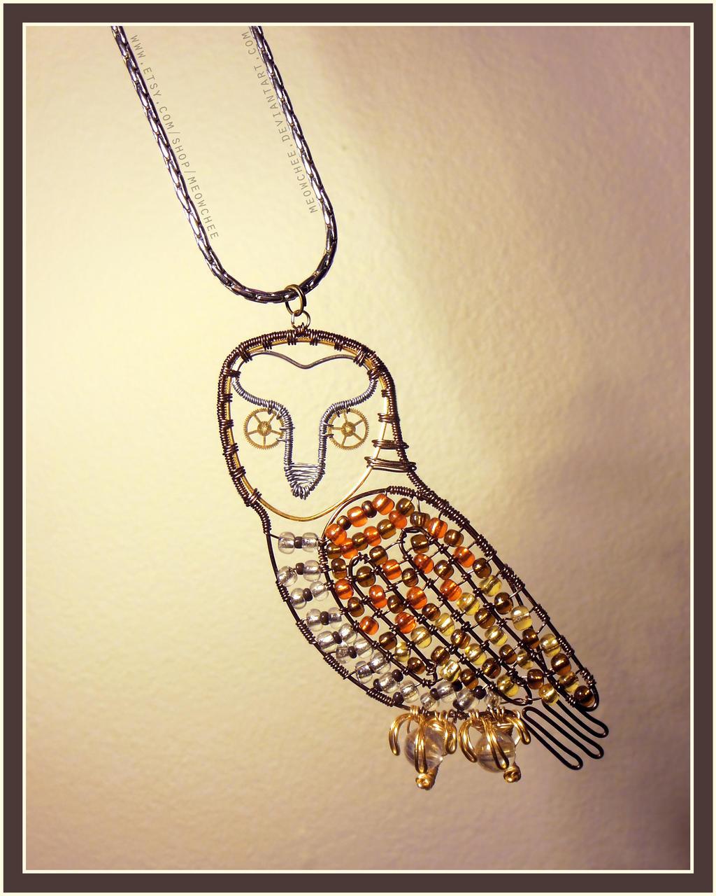 Steampunk Barn Owl Pendant by Meowchee
