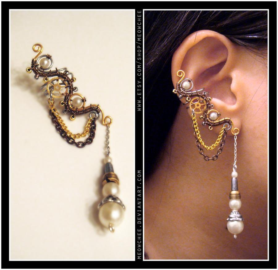 Steampunk pearl ear cuff by meowchee on deviantart steampunk pearl ear cuff by meowchee baditri Choice Image