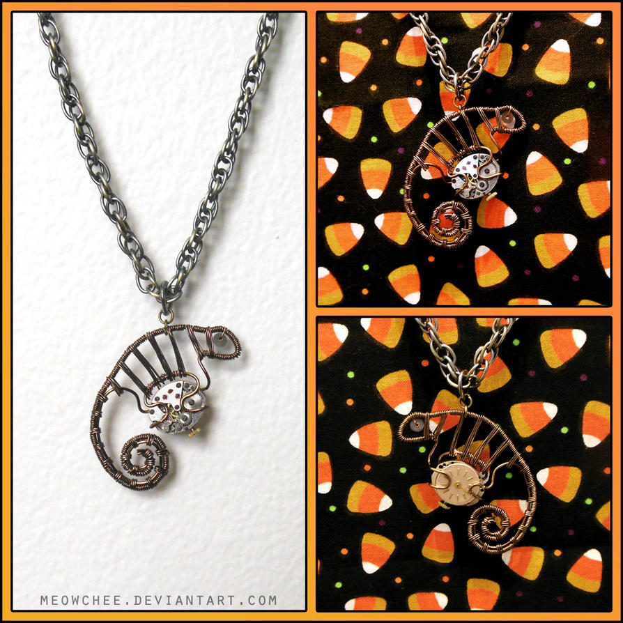 Steampunk Chameleon Pendant FOR SALE by Meowchee