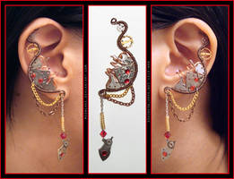 Steampunk Red Jeweled Pair of ear cuffs by Meowchee