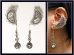 Steampunk Silver Moon ear cuffs