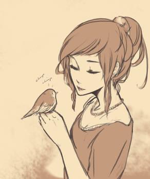 Fem France and her bird