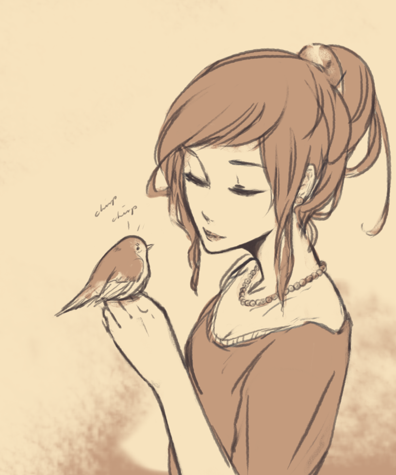 Fem France and her bird by SilentSeven
