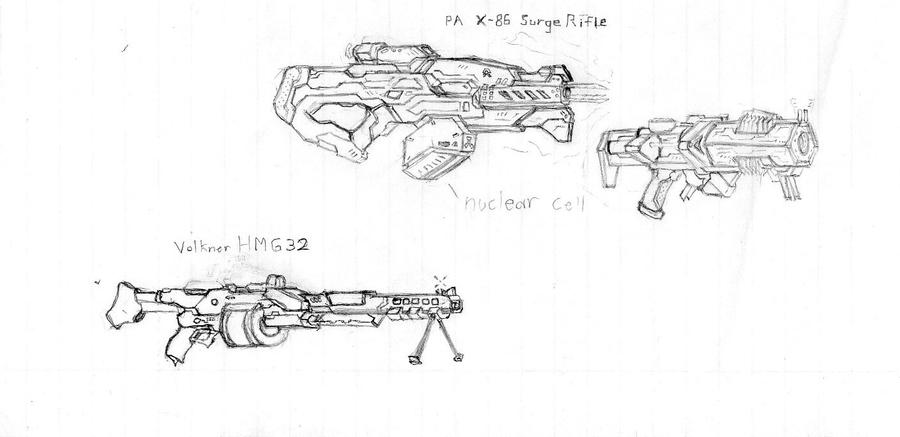 Rough Sketches, weapon ideas by CryonIndustries