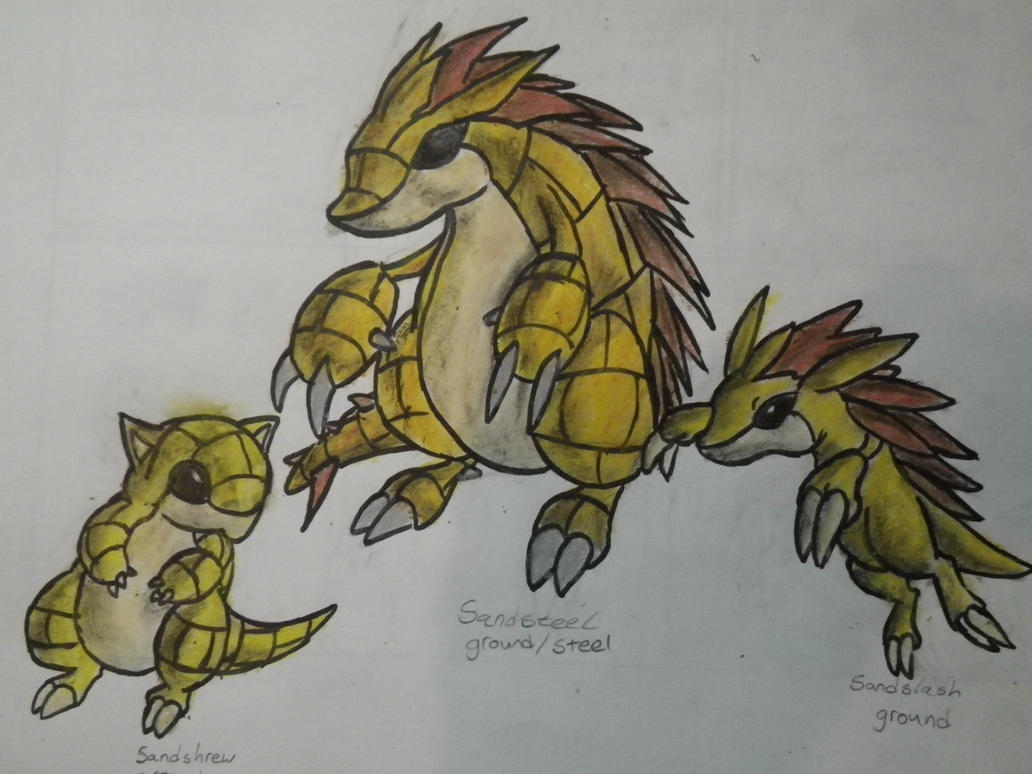 Sandslash evolution: Sandsteel by Drawmons on DeviantArt