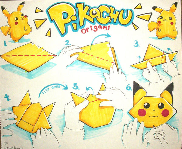 easy origami pikachu by toyspence on deviantart