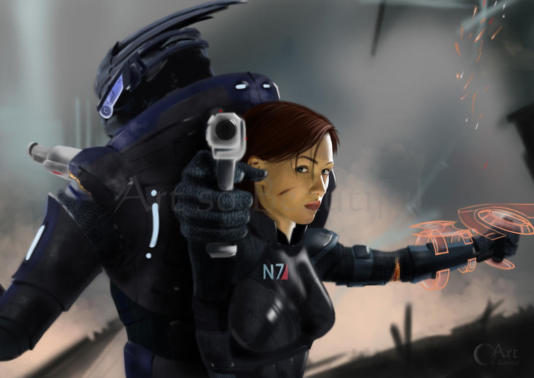 A Painting of Shepard and Garrus by jht888