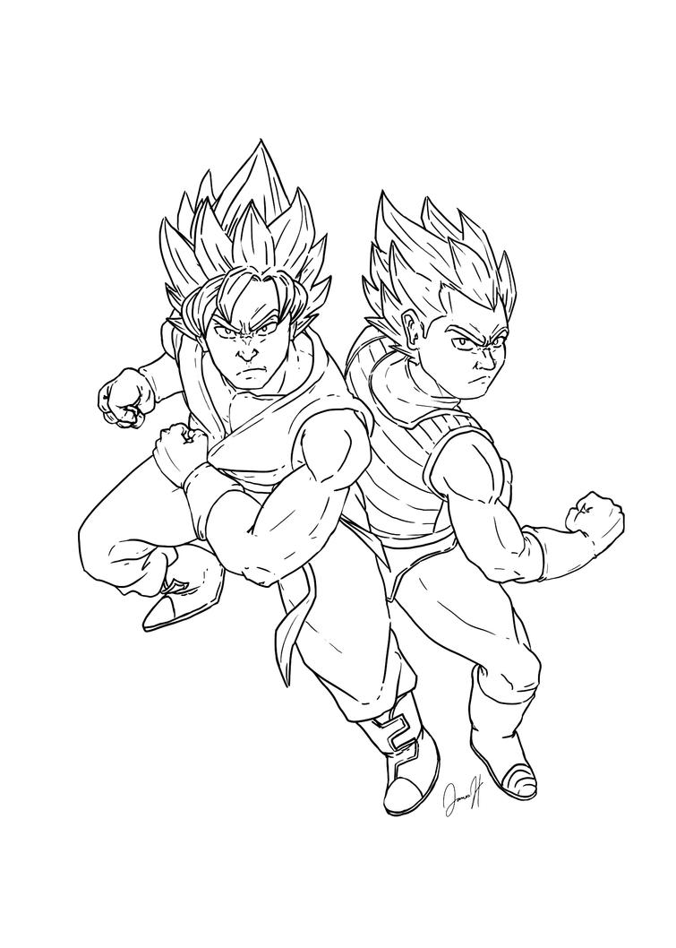 SSGSS Goku and Vegeta lineart