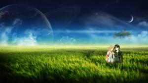 Wallpaper // Asuna and Kirito in meadows