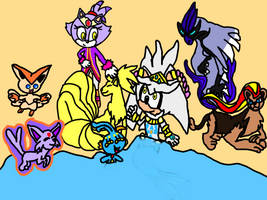 Blaze and Silver with their Pokemon!