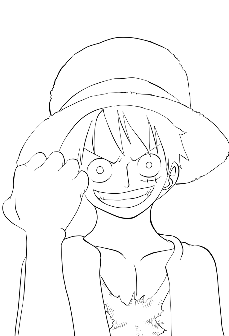Onepiece cover luffy lineart by dreamdsiner on deviantart - Coloriage one piece 2 ans plus tard ...