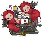 Stitch Devil on Sewing Machine by syniac
