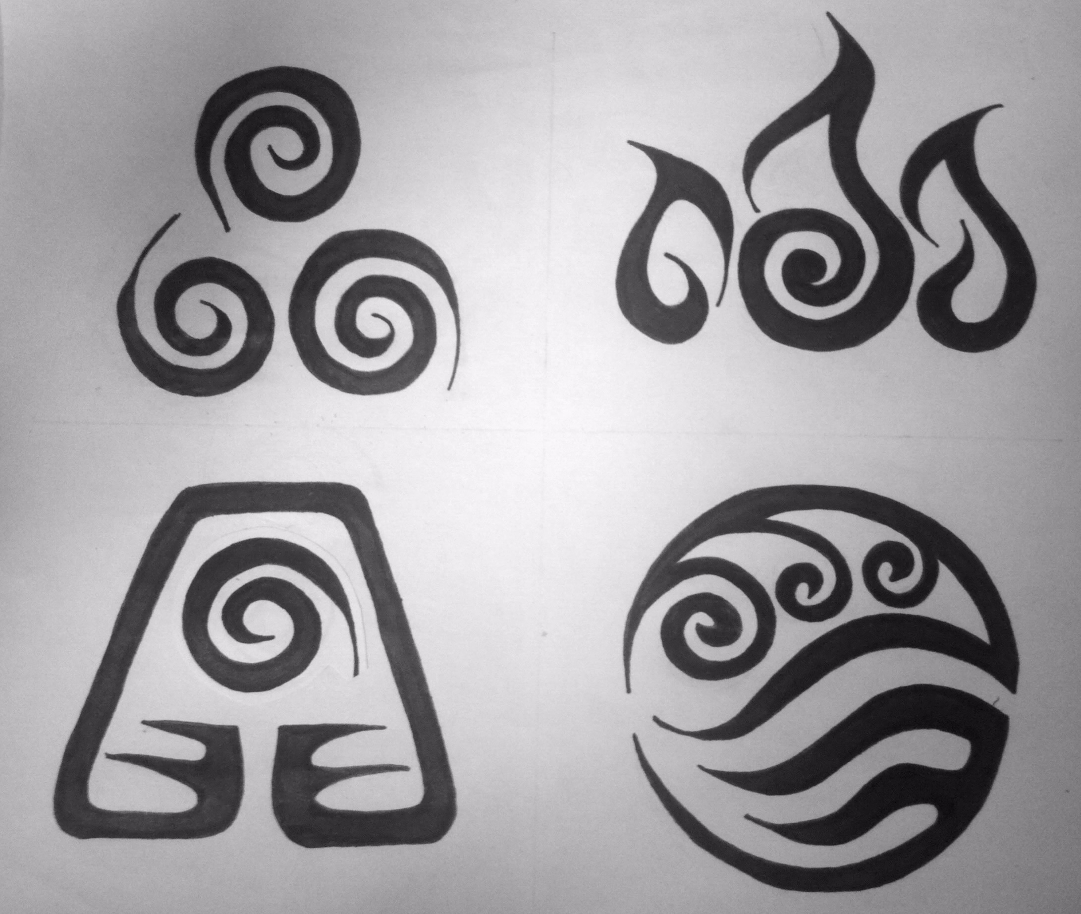 Four Elements Symbol Tattoos