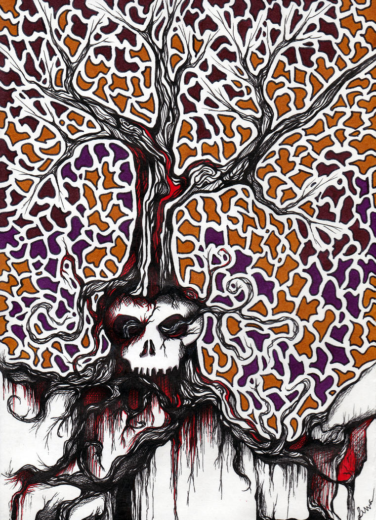 Skull Tree - Work Doodle by graffitica