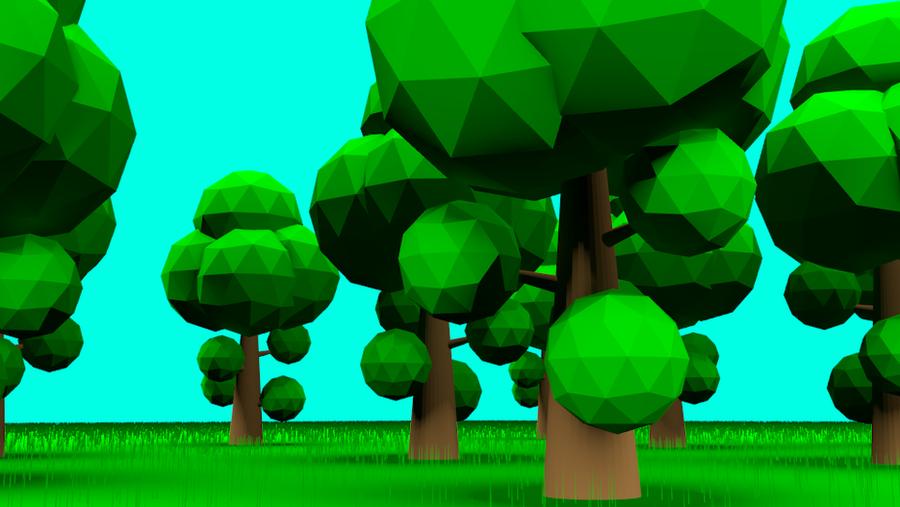 Low poly blender forest render by johnbuhr on deviantart