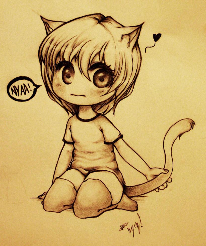 Картинки карандашом коты аниме, любви