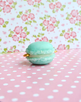 light blue clay macaron, My first ever charm!