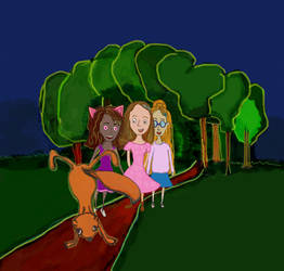 Girls in the forest