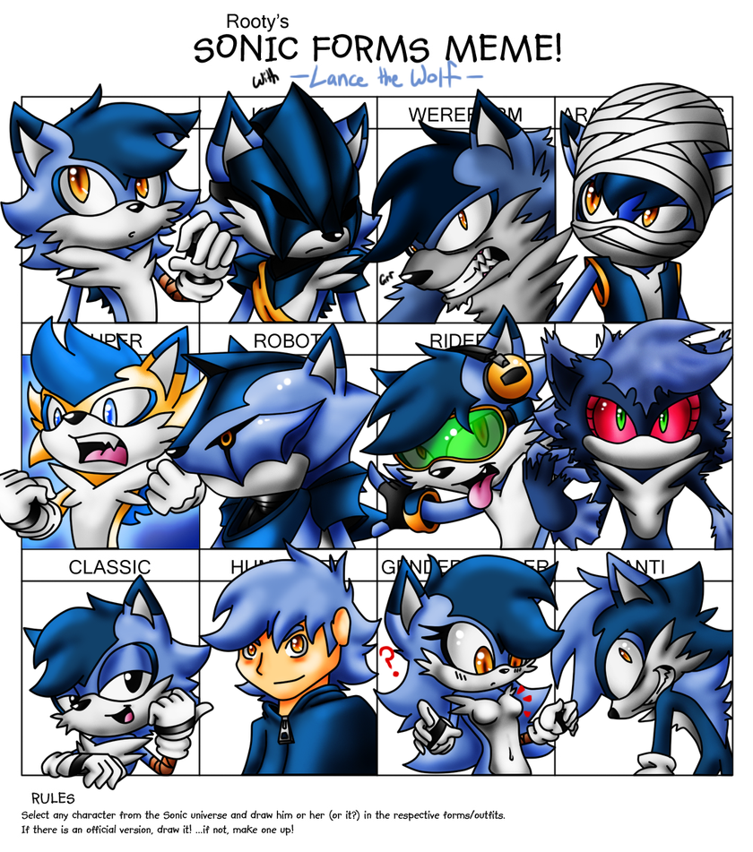 Sonic Forms: Lance The Wolf By LancerWolf13 On