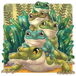 Crocodile and frogs